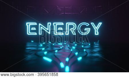Energy neon sign with glowing cable, 3D illustration
