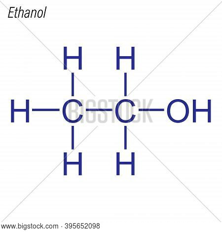 Vector Skeletal Formula Of Ethanol. Antimicrobial Chemical Molec