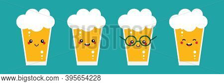 Set, Collection Of Cute And Happy Cartoon Style  Glasses Of Lager Beer Characters For International