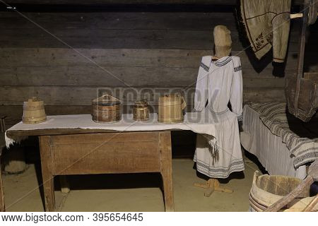 Lviv, Ukraine - October 28, 2020: Interior Of An Ancient Ukrainian House In The Shevchenkivskyi Gai