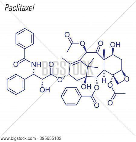 Vector Skeletal Formula Of Paclitaxel. Drug Chemical Molecule.