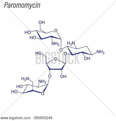 Vector Skeletal Formula Of Paromomycin. Drug Chemical Molecule.