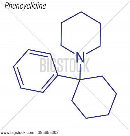 Vector Skeletal Formula Of Phencyclidine. Drug Chemical Molecule