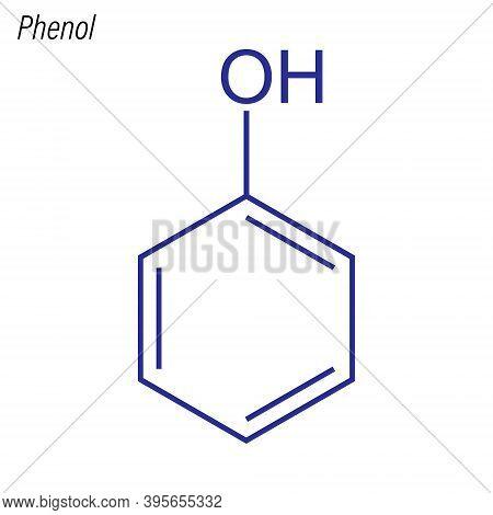 Vector Skeletal Formula Of Phenol. Antimicrobial Chemical Molecu