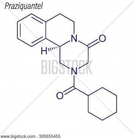 Vector Skeletal Formula Of Praziquantel. Drug Chemical Molecule.
