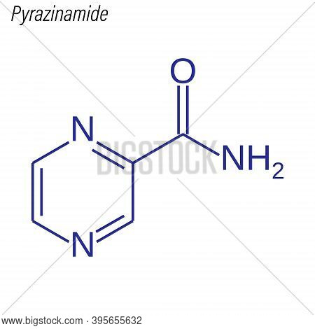 Vector Skeletal Formula Of Pyrazinamide. Drug Chemical Molecule.