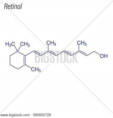 Vector Skeletal Formula Of Retinol. Drug Chemical Molecule.