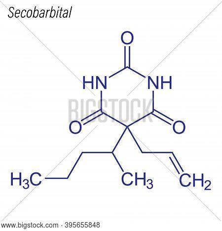 Vector Skeletal Formula Of Secobarbital. Drug Chemical Molecule.