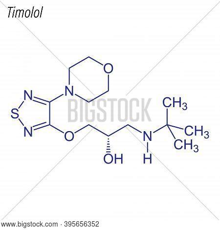 Vector Skeletal Formula Of Timolol. Drug Chemical Molecule.