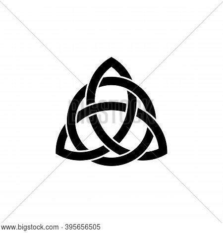 Triquetra Symbol Interlaced With A Circle. Celtic Knot Icon. Trinity Logo. Pagan Sign Of Eternity. A