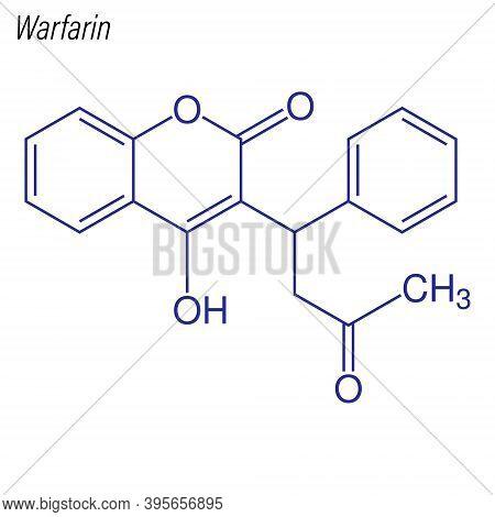 Vector Skeletal Formula Of Warfarin. Drug Chemical Molecule.