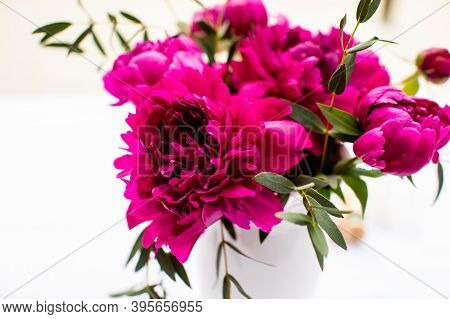 Lovely Pink Peony Flowers Bouquet, Isolated On White Background