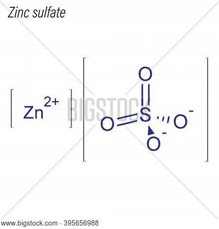Vector Skeletal Formula Of Zinc Sulfate. Drug Chemical Molecule.