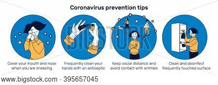 Banner With Coronavirus Prevention Tips And Illustration With Girl Observing Safety Precautions Duri