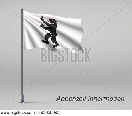 Waving Flag Of Appenzell Innerrhoden - Canton Of Switzerland On