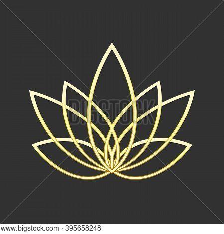 Linear Lotus Icon. Golden Flower Symbol On Black. Fioral Label For Yoga Center, Spa, Beauty Salon. J