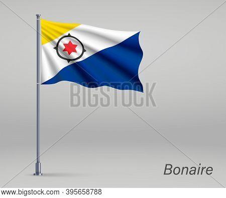 Waving Flag Of Bonaire - Province Of Netherlands On Flagpole. Te