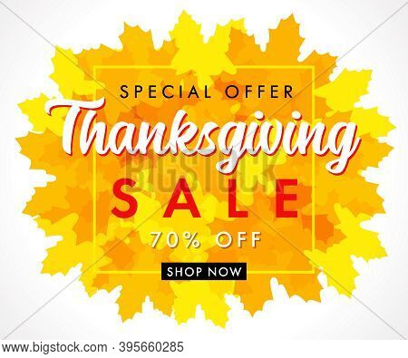 Special Offer Thanksgiving Sale With Orange Maple Leaves. Hand Drawn Typography Special Offer Up To