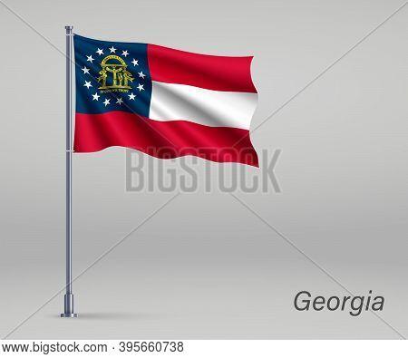 Waving Flag Of Georgia - State Of United States On Flagpole. Tem