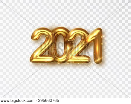 2021 Golden Realistic Numbers On Transparent Background. Vector Object For Creating Holiday Illustra