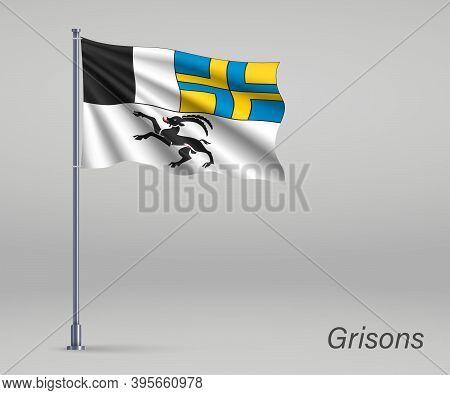 Waving Flag Of Grisons - Canton Of Switzerland On Flagpole. Temp