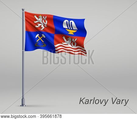 Waving Flag Of Karlovy Vary - Region Of Czech Republic On Flagp