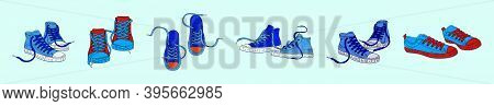 Set Of Sneakers Shoes. Cartoon Icon Design Template With Various Models. Modern Vector Illustration