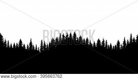 Silhouette Of Forest. Seamless Forest On Hills. Beautiful Trees Are Separated From Each Other. Vecto