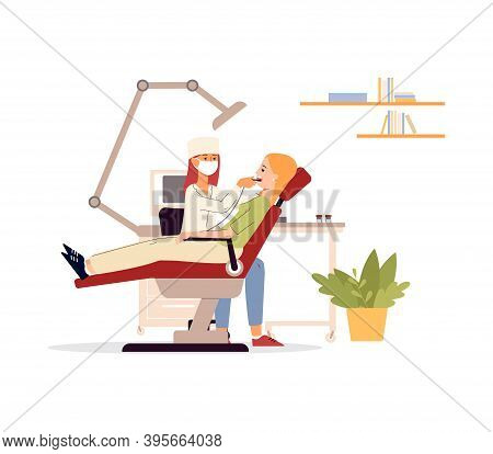 Dentist Patient In Chair During Teeth Treatment Vector Illustration Isolated.