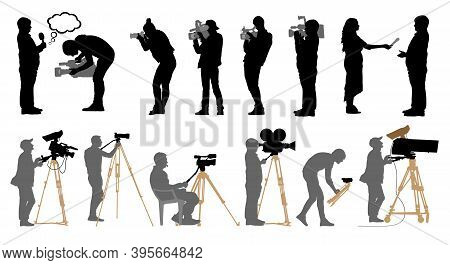 Set Of Professional People With Video Cameras And Photo Cameras. Silhouettes Are Separated. Vector I