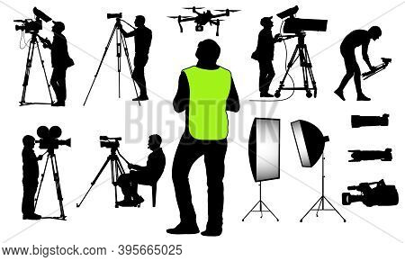 Silhouettes Of Cameramen With Video And Photo Equipment, Quadcopter And Etc., Set. Vector Illustrati