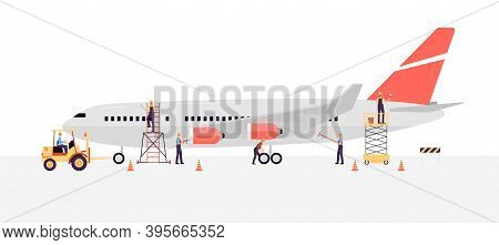 Airline Workers Or Engineers Maintain A Plane Flat Vector Illustration Isolated.