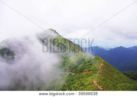 clouds around the mountaintop
