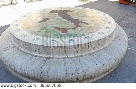 Rieti, Ri, Italy - August 19, 2020: Monument Called Umbilicus Italiae On The Geographical Center Of