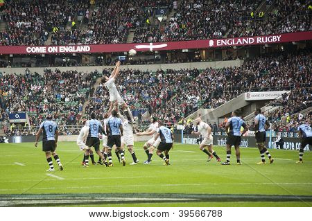 TWICKENHAM LONDON - NOVEMBER 10: Tom Palmer catches the lineout ball at England vs Fiji, England playing in white Win 54-12, at QBE Rugby Match on November 10, 2012 in Twickenham, England.