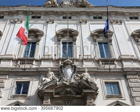Roma, Rm, Italy - August 17, 2020: Facade Of Palace Called Palazzo Chigi Seat Of Government
