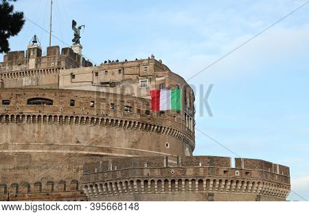 Rome, Rm, Italy - March 4, 2019: Ancient Building Called Castel Saint Angelo That Means Castle Of Sa