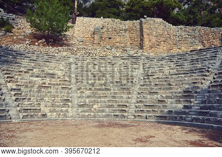 Amphitheater  Ancient Lycian City Of Arykanda. Antalya-turkey. Unique Lycian City, Built Upon Five L