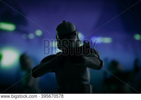 Nov 17 2020: Recreation of a scene from Star Wars The Clone Wars series, the battle of Umbara - Hasbro action figure
