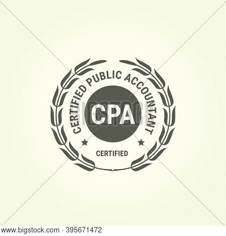Certified Public Accountant Emblem, Cpa Bookkeeper Stamp, Accounting Badge Vector Illustration