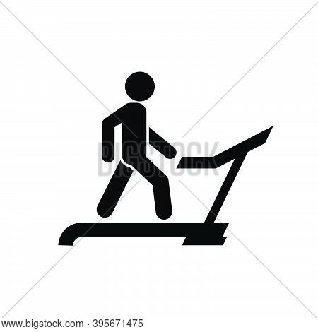 Man Runs On Treadmill In Gym, Physical Exercise Icon,  Weight Loss And Diet, Sport And Training Vect