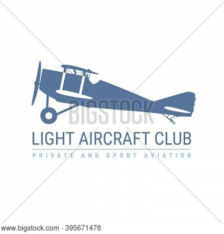 Light Aviation Emblem With Retro Airplane, Biplane Side View, Propeller Aircraft Logo, Vector Illust