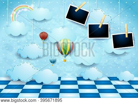 Surreal Landscape With Clouds, Floor, Balloons And Photo Frames. Vector Illustration Eps10