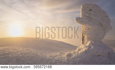 Beautiful Winter Landscape In The Carpathians. Dawn From The Top Of Hoverla. Cold Snowy Weather. On
