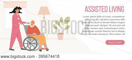 Banner For Retirement Home. Concept Of Assisted Living. Residential Care Facility At Nursing Home. A