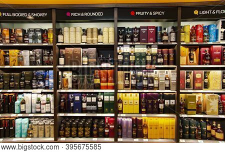 Netherlands, Amsterdam, May, 29, 2018: Alcohol Boutique In Duty Free Shop At Schiphol Amsterdam Inte