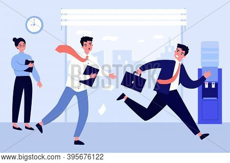 Office Worker Running After Colleague. Worried Manager Pursuing Cheerful Coworker Flat Vector Illust