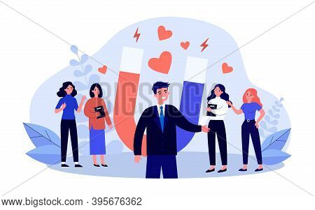 Happy Man Popular With Ladies. Handsome Guy Attracting Love And Hearts With Magnet Flat Vector Illus