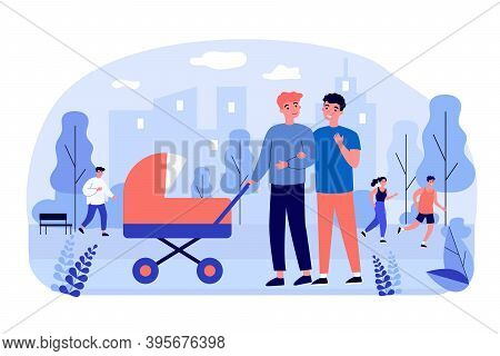 Male Gay Couple Walking With Baby Outside. Two Dads Wheeling Stroller In City Park Flat Vector Illus