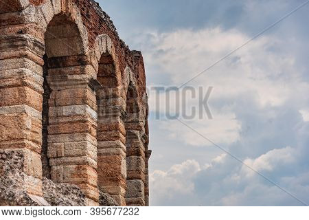 Verona, Italy - 05 31 2016: Details Of The Arches And Stonework In The Verona Arena, A Roman Amphith